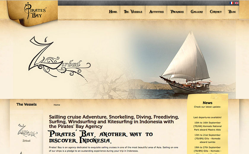 bali web design : Pirate Bay Cruising
